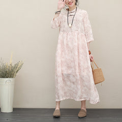 Summer Cute Pink Linen Maxi Dresses Women Loose Outfits Q2717