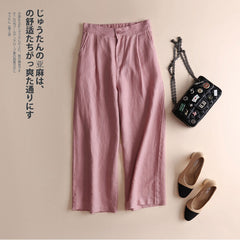 Women's Simple Loose Linen Wide Leg Pants