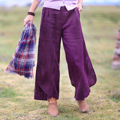 Women Purple Linen Irregularity Wide Leg Pants