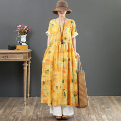 Elegant Yellow Print Linen Maxi Dresses Women Loose Summer Outfits 7066