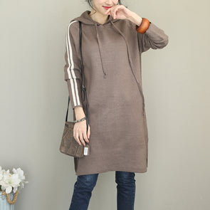 Casual Hoodie Knitted Base Dresses Women Loose Clothes Q2080