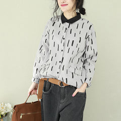 Vintage Casual Linen Shirt Women Spring Tops Q2210