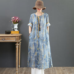 Chinese Style Vintage Blue Linen Maxi Dresses For Summer 7079