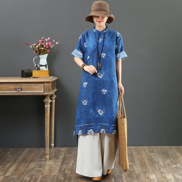 Elegant Women Linen Floral Dresses Summer Loose Clothes 7111