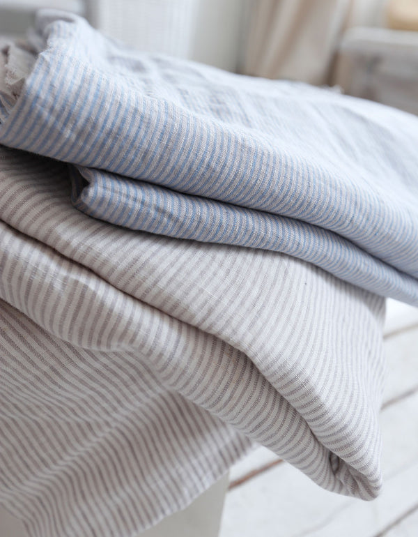 Natural Yarn-dyed Striped Linen Fabric Cut-to-length linen fabric. Softened, pre-shrunk linen fabric