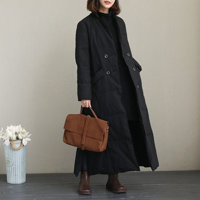 Black Vintage Thick Long Down Coat For Women Q2052