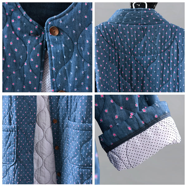 Women Winter Loose Polka Dot Thick Coats