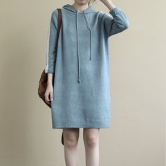 Women's Loose Hooded Sweater Dress