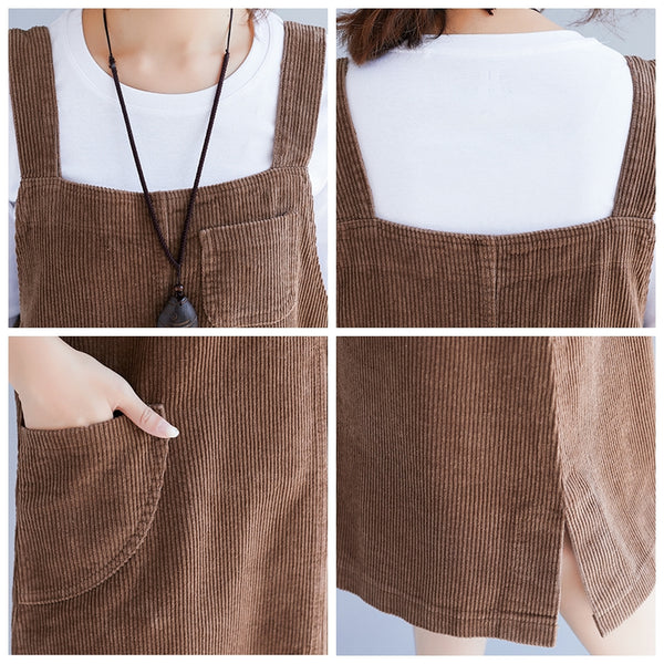 Loose Plus Size Corduroy Suspender Skirt Women Clothes