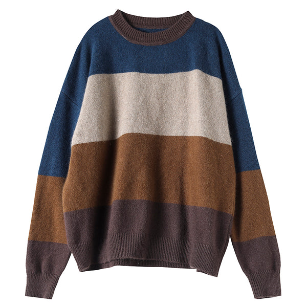 Retro Loose Patchwork Striped Knit Sweater