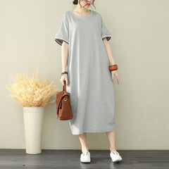 Korea Style Loose Shirt Dresses Women Summer Cotton Clothes Q2732
