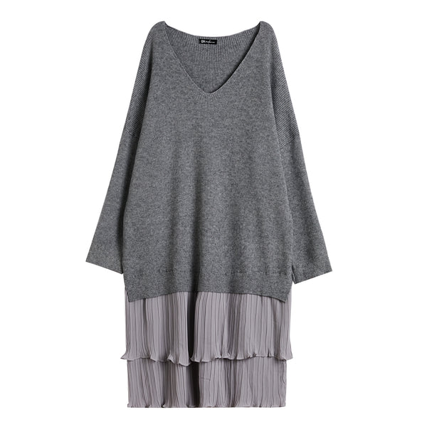 Loose V-Neck Dress With Double Pleats For Women