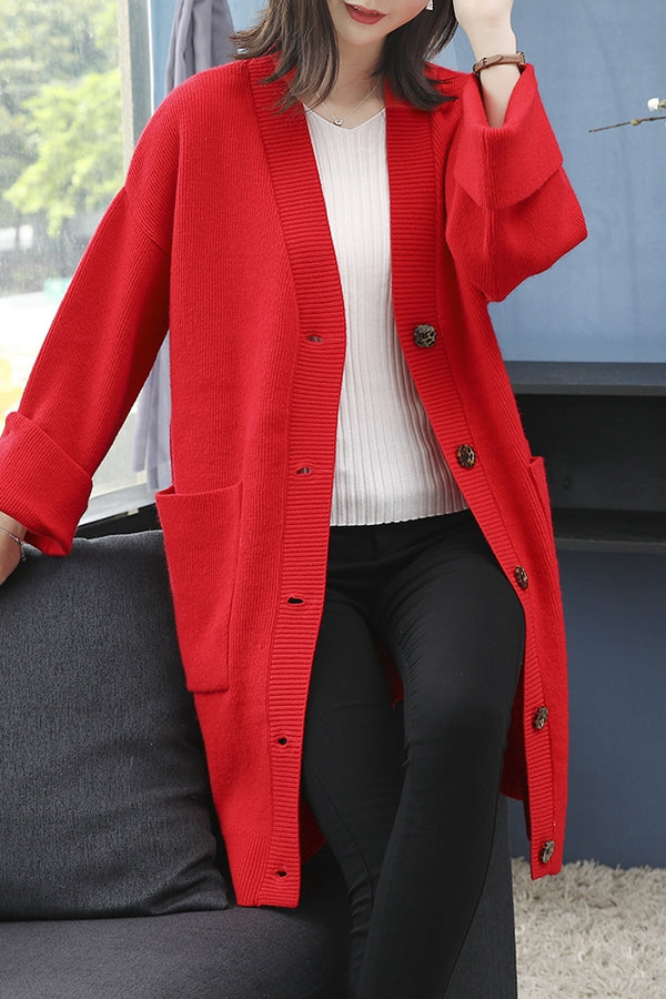 Single-Breasted Plus Size Knit Coat Woman Z0909