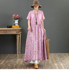 Purple Print Loose Linen Dresses Casual Summer Clothes For Women 7069