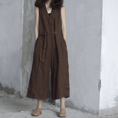 Linen Loose Casual Jumpsuit For Women