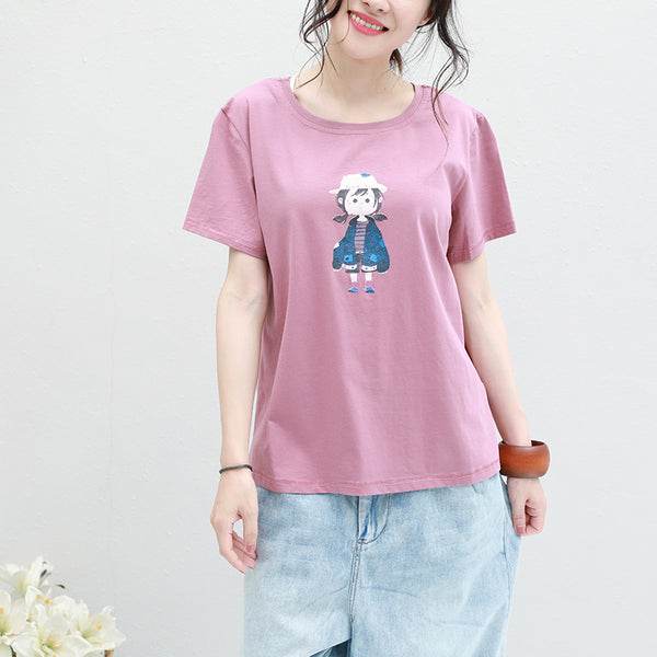 Cute Cotton Summer Simple Shirt Women Casual Tops Q2809