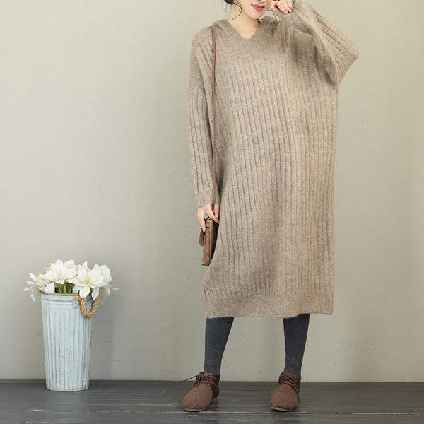 Women Loose Hoodie Brushed Woolen Sweater Dresses Q2101