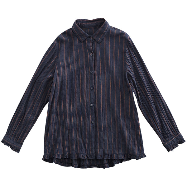 Casual Blue Cotton Linen Striped Shirt Women Loose Spring Tops S15010