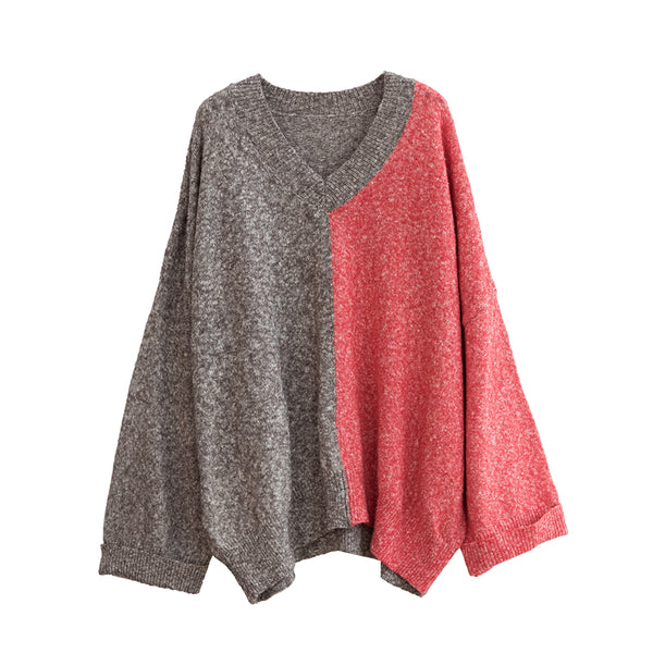 Loose V Neck Plus Size Matching Color Sweater Women