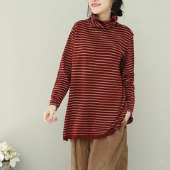 Women Vintage High Neck Striped Knitwear For Spring Q2271