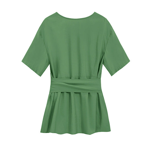 Cute Women Green And Orange Blouse Summer Casual Tops S3068