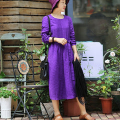 Vintage Purple Linen Front Frill Dress For Women