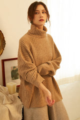 Loose Retro Turtleneck Sweater For Women