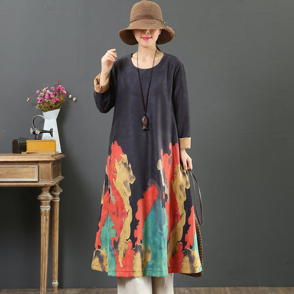 Women Casual Colored Prints Dress