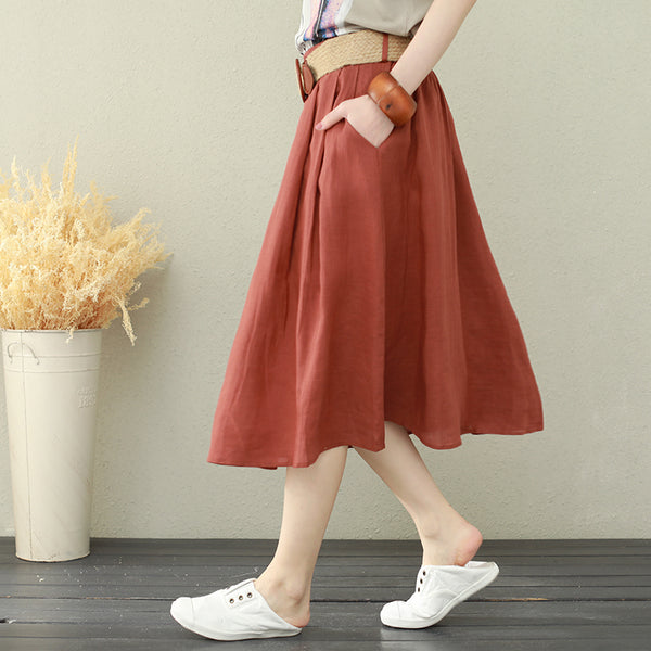 Summer Design Linen Skirt Women Loose Clothes Q2665