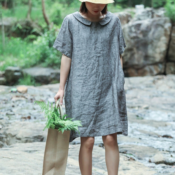 Women Simple Loose Linen Pure Color Dress