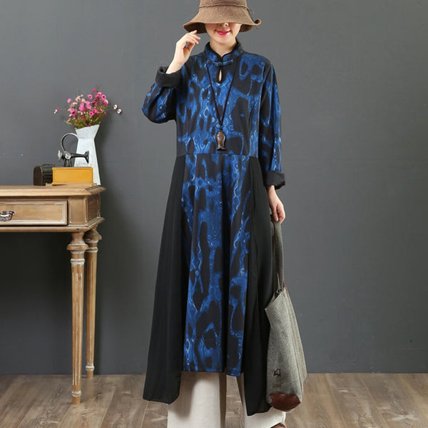 Women's Loose Printed Spliced Stand Collar Dress