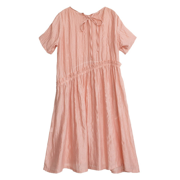 Loose Pink And Blue Linen Maxi Dresses Women Casual Summer Clothes Q9441