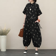 Black Summer Loose Chiffon Overalls Women Casual Jumpsuit Q2726