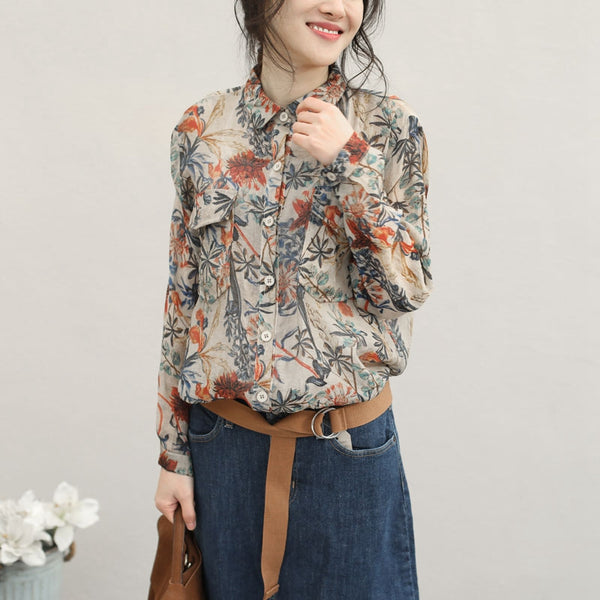 Vintage Casual Colored Print Shirt Women Tops