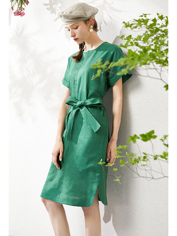Emerald Linen Big Pocket Summer Dresses For Women