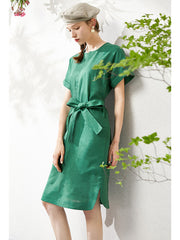 Emerald Linen Big Pocket Summer Dresses For Women  WLQ01201