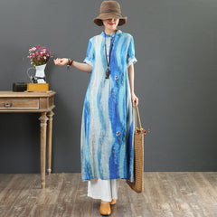 Summer Linen Long Blue Dresses Women Casual Cool Outfits 7063