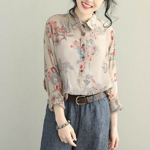Cute Beige Print Casual Shirt Women Loose Tops Q2055