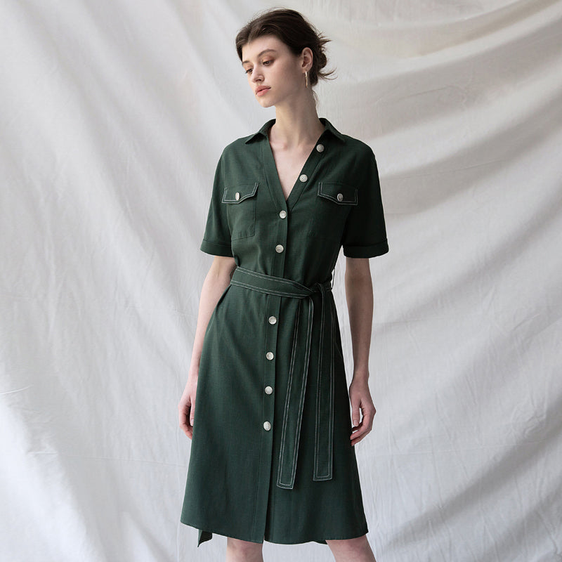 get online kid hot product Vintage Button Down Green Dresses Women Summer Outfits Q30044