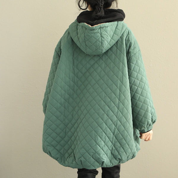 Korea Style Green Thick Cotton Coat Women Short Jacket Q2031