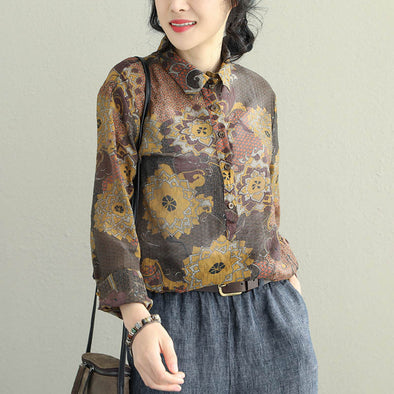 Elegant Vintage Coffee Casual Shirt Women Loose Blouse Q2053