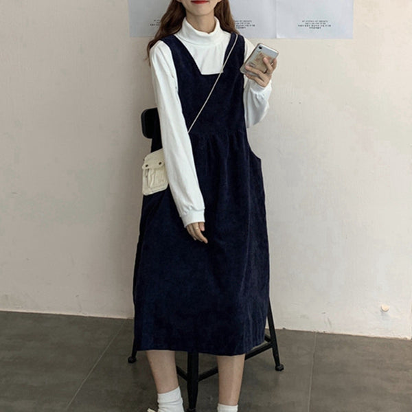 Women's Loose Corduroy Suspenders Dress