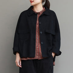 Casual Black Button Down Coat Women Fashion Spring Jacket C25023