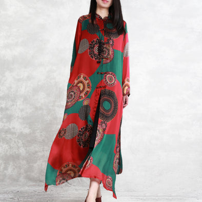 Chinese Style Vintage Print Long Wind Coat Women Casual Outfits C11032