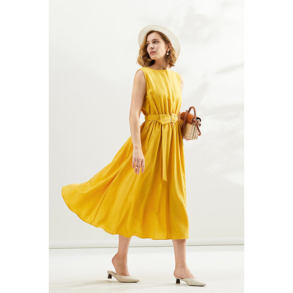 Sleeveless Linen Long Summer Dresses For Women  WLQ01173