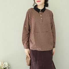 Vintage Plaid Cotton Linen Short Women Casual Blouse Q2190