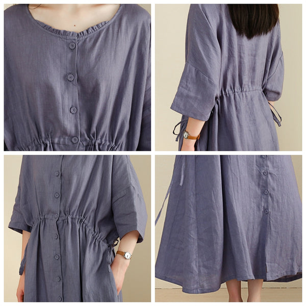 Women Linen Half Sleeve Plus Size Cardigan Dress