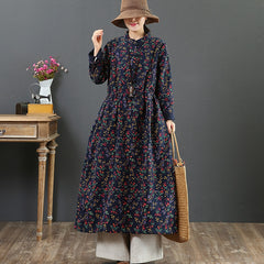 Women's Warm Vintage Floral Dress