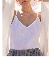 Linen Soft Summer Top / V neck Linen Slip Top Handmde Linen Women clothes