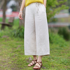 Women Linen Elastic Waist Loose Wide Leg Pants